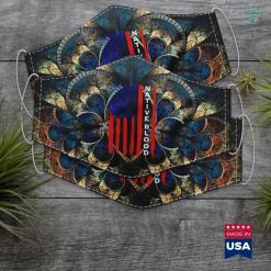 Native American Teepee Native Blood Usa Flag Native American Cloth Face Mask Gift %tag familyloves.com