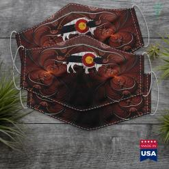 Native American Zodiac Signs Colorado Flag Buffalo Beautiful Native Colorado Tee Cloth Face Mask Gift %tag familyloves.com