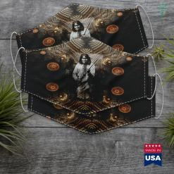 Relaxing Native American Music Geronimo Warrior Native American Cloth Face Mask Gift %tag familyloves.com