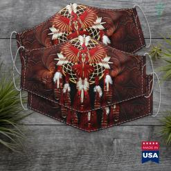Traditional Native American Tattoos Dreamcatcher Eagle Native Hooded Blanket. Cloth Face Mask Gift %tag familyloves.com