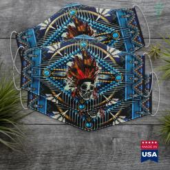 Trump Native American Skull With Native American Indian Headdress Tribal Cloth Face Mask Gift %tag familyloves.com