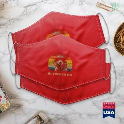 White Dog Breeds Vintage Best Poodle Dad Ever Dog Daddy Father Face Mask Gift %tag familyloves.com