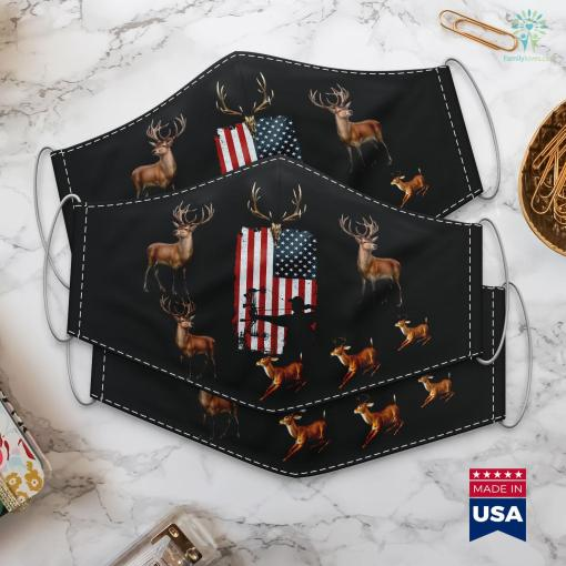 Wisconsin Hunting License Archery Bow Hunting Bow Hunter American Flag Cloth Face Mask Gift %tag familyloves.com