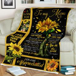 To My Mom Everything I Am You Helped Me To Be Sunflower Love Daughter Sherpa Fleece Blanket %tag familyloves.com