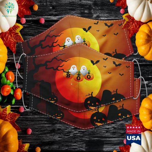 Boo Halloween Design With Spiders Pumpkins And Ghosts Halloween Costume Stores Near Me Cloth Face Mask Gift %tag familyloves.com