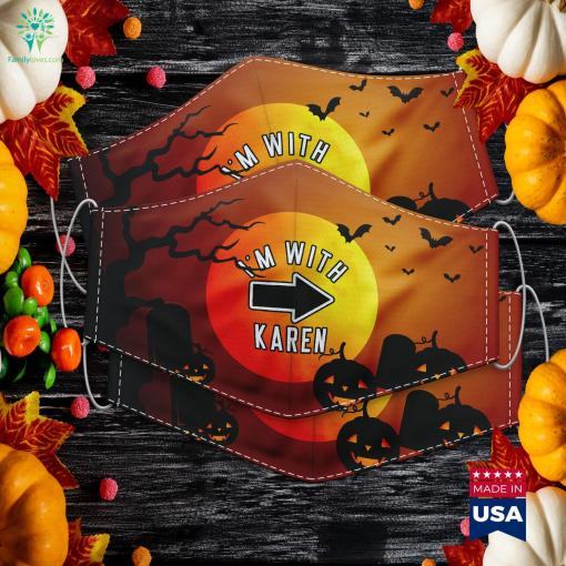Couples Halloween Costumes Im With Karen Halloween Quilt Pattern Cloth Face Mask Gift %tag familyloves.com