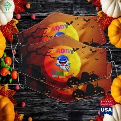 Daddy Shark Father Grandpa Halloween Christmas Halloween Events 2020 Cloth Face Mask Gift %tag familyloves.com