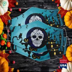 English Bulldog Dog Skull Halloween Costumes Gift Halloween Party Costumes Cloth Face Mask Gift %tag familyloves.com