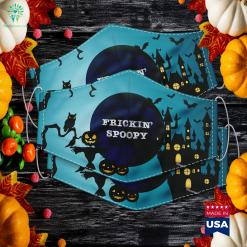 Frickin Spoopy Vintage Distressed Text Halloween Meme Gift Simple Funny Halloween Costumes Cloth Face Mask Gift %tag familyloves.com