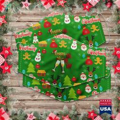 Grinch Christmas Tree I M The Gma Elf Christmas Idea Xmas Family Cloth Face Mask Gift %tag familyloves.com