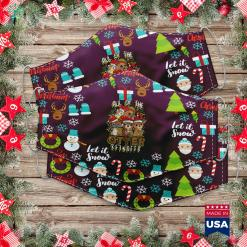 Half Christmas Tree Christmas Otters All Of The Otter Reindeer Cloth Face Mask Gift %tag familyloves.com
