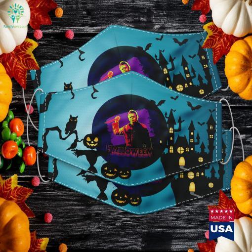 Halloween Michael Myers Neon Portrait Halloween Jack O Lantern Cloth Face Mask Gift %tag familyloves.com