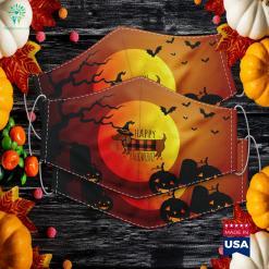 Happy Halloweenie Dachshund Halloween Buffalo Plaid Halloween Logo Cloth Face Mask Gift %tag familyloves.com