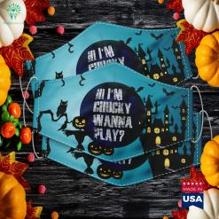 Hi Im Chucky Wanna Play Funny Halloween Party Halloween Backgrounds Cloth Face Mask Gift %tag familyloves.com