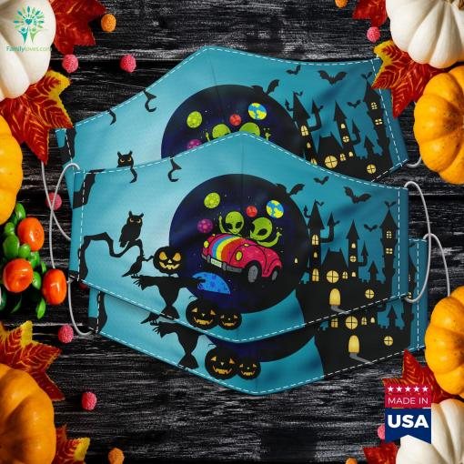 Hippie Alien Space Roadtrip Car Peace Area 51 Halloween Gift Scary Halloween Costumes Cloth Face Mask Gift %tag familyloves.com