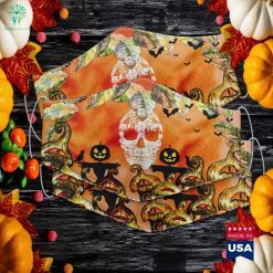 Pitbull Dog Skull Halloween Costumes Gift Halloween Pumpkin Cloth Face Mask Gift %tag familyloves.com