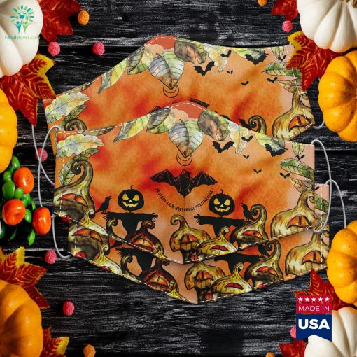 Protect Our Nocturnal Polalinators Bat With Moon Halloween October Halloween Cloth Face Mask Gift %tag familyloves.com