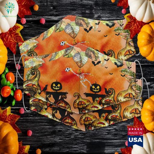 Skeleton Soccer Goalkeeper Halloween Pumpkin Goalie Halloween Pick Up Lines Cloth Face Mask Gift %tag familyloves.com