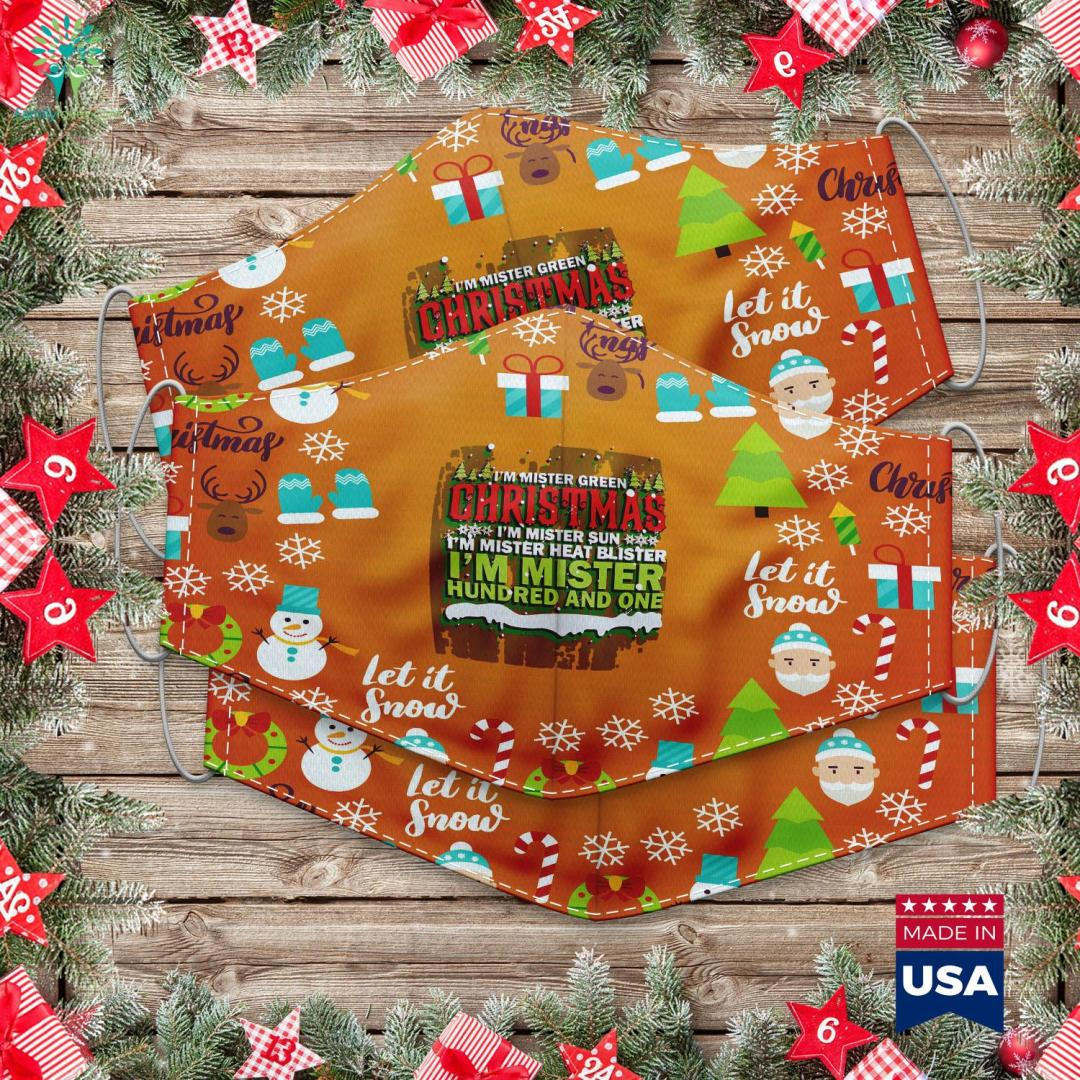 Solar Christmas Lights Heat Green Christmas Miser Merry Xmas Cloth Face Mask Gift %tag familyloves.com