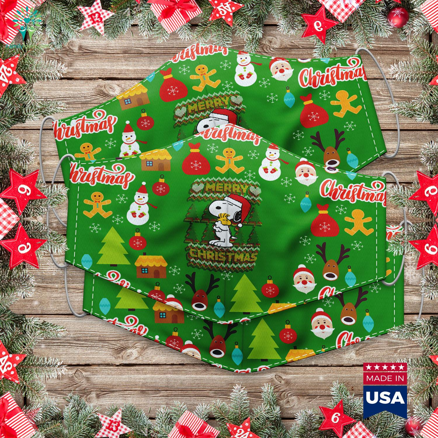 Tabletop Christmas Tree Peanuts Snoopy Merry Christmas Ugly Sweater Cloth Face Mask Gift Familyloves Com