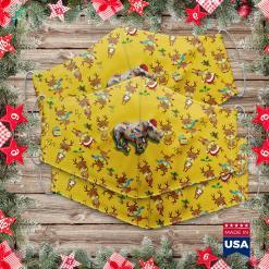 Vintage Aluminum Christmas Tree Santa Rhino Christmas Lights Rhino Lover Christmas Cloth Face Mask Gift %tag familyloves.com