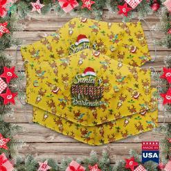 Vintage Christmas Images Santa S Favorite Bartender Santa Christmas Hat In Snow Cloth Face Mask Gift %tag familyloves.com