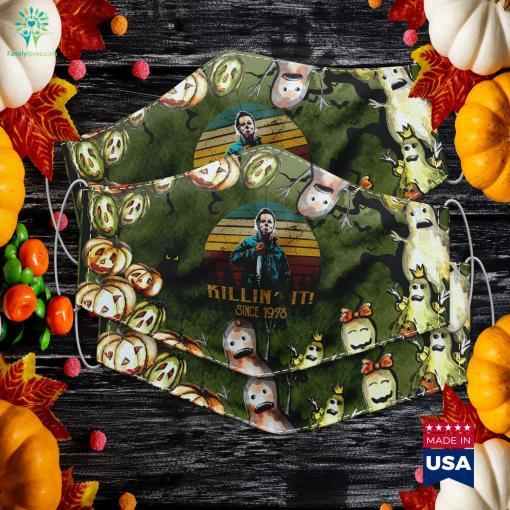 Vintage Retro Michael Myers Love Killin It Halloween Halloween Wars Cloth Face Mask Gift %tag familyloves.com