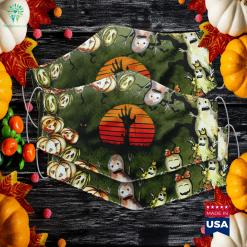 Vintage Retro Sunset Halloween Zombie Hand Scary Costume The Story Of Halloween Cloth Face Mask Gift %tag familyloves.com