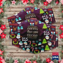 White Christmas Tree Fun Ugly Hanukkah Sweater Jew-Ish Santa Hat Merry Christmas Cloth Face Mask Gift %tag familyloves.com