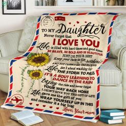 To My Daughter - Never Forget That I Love Your Mom Sherpa Fleece Blanket %tag familyloves.com