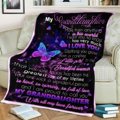 My Granddaughter More Than Anything In This World Sherpa Fleece Blanket %tag familyloves.com