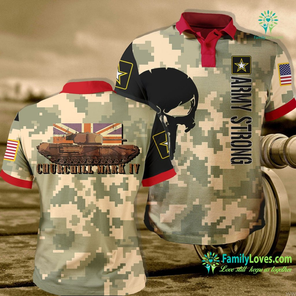 Us Army Multicam Churchill Tank Gift Ww2 Infantry Iv British Army Tee Army Polo Shirt All Over Print Familyloves.com
