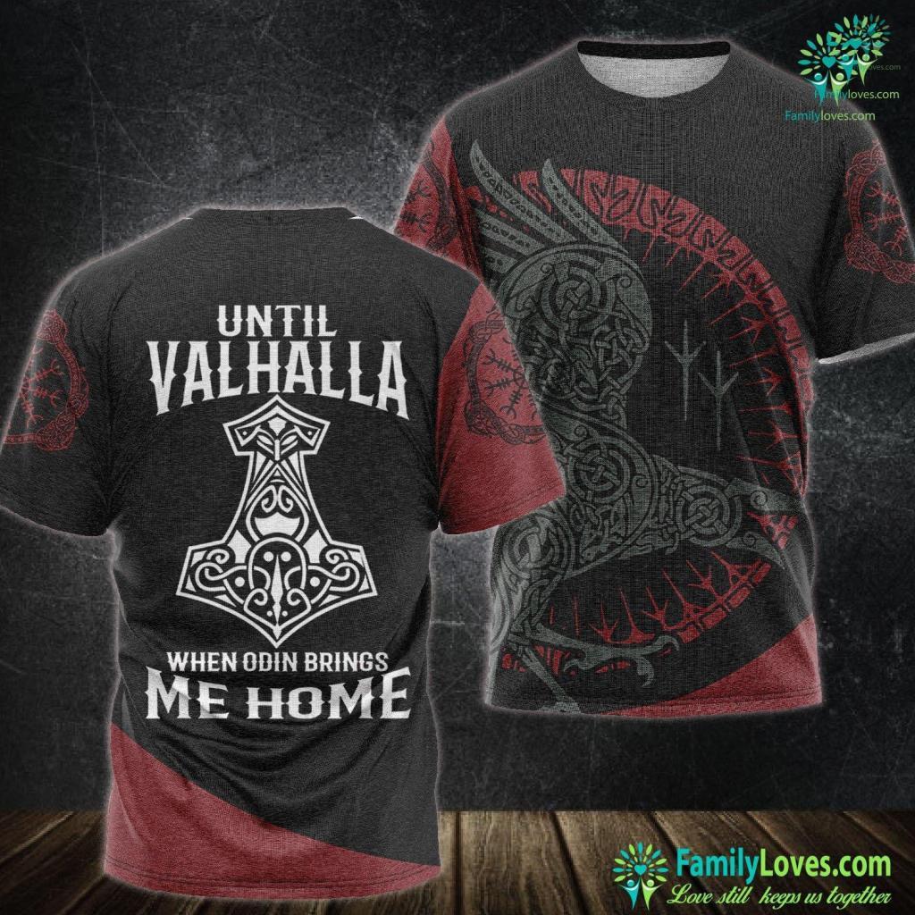 Bear Wood Carving Until Valhalla When Odin Brings Me Home Viking Viking Unisex Tshirt All Over Print Familyloves.com