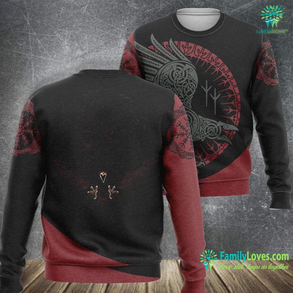Huginn Viking S Vegvisir Raven Viking Sweatshirt All Over Print Familyloves.com
