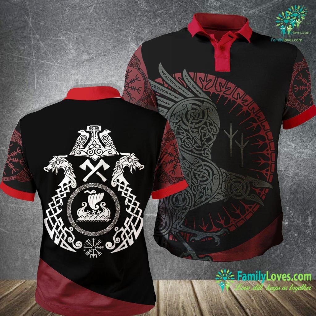 Mjlnir Pronounce Vikings Nordic Dragon Longship Vegvisir Mjolnir Viking Polo Shirt All Over Print Familyloves.com