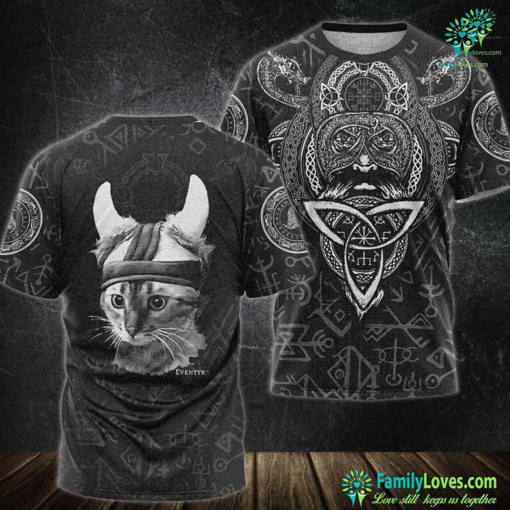 Mythology Symbols Eventyr Original Viking Cat Norwegian Gift Viking Unisex Tshirt All Over Print Familyloves.com