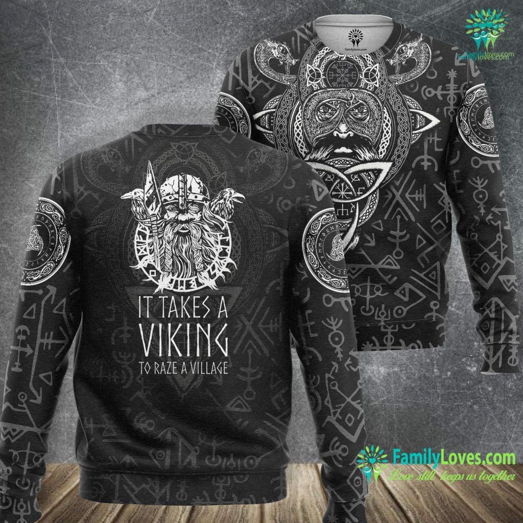 Ragnarok Vikings It Takes A Viking To Raze A Village Viking History Gift Viking Sweatshirt All Over Print Familyloves.com