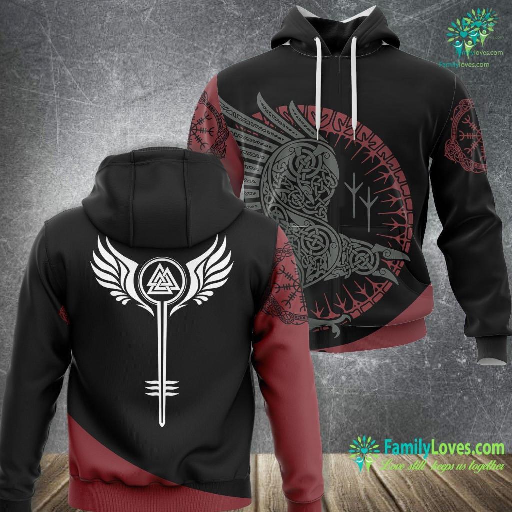 Runes Names Valkyrie Symbol Valknut Odin Wings Vikings Asgard Valhalla Viking Unisex Hoodie All Over Print Familyloves.com