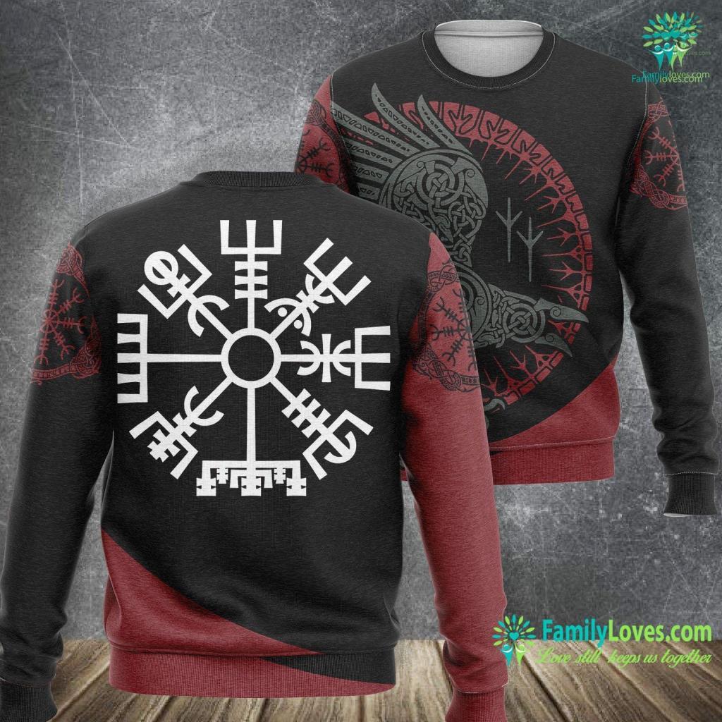 Thor Braided Beard Vegvisir Nordic Viking Compass Viking Sweatshirt All Over Print Familyloves.com