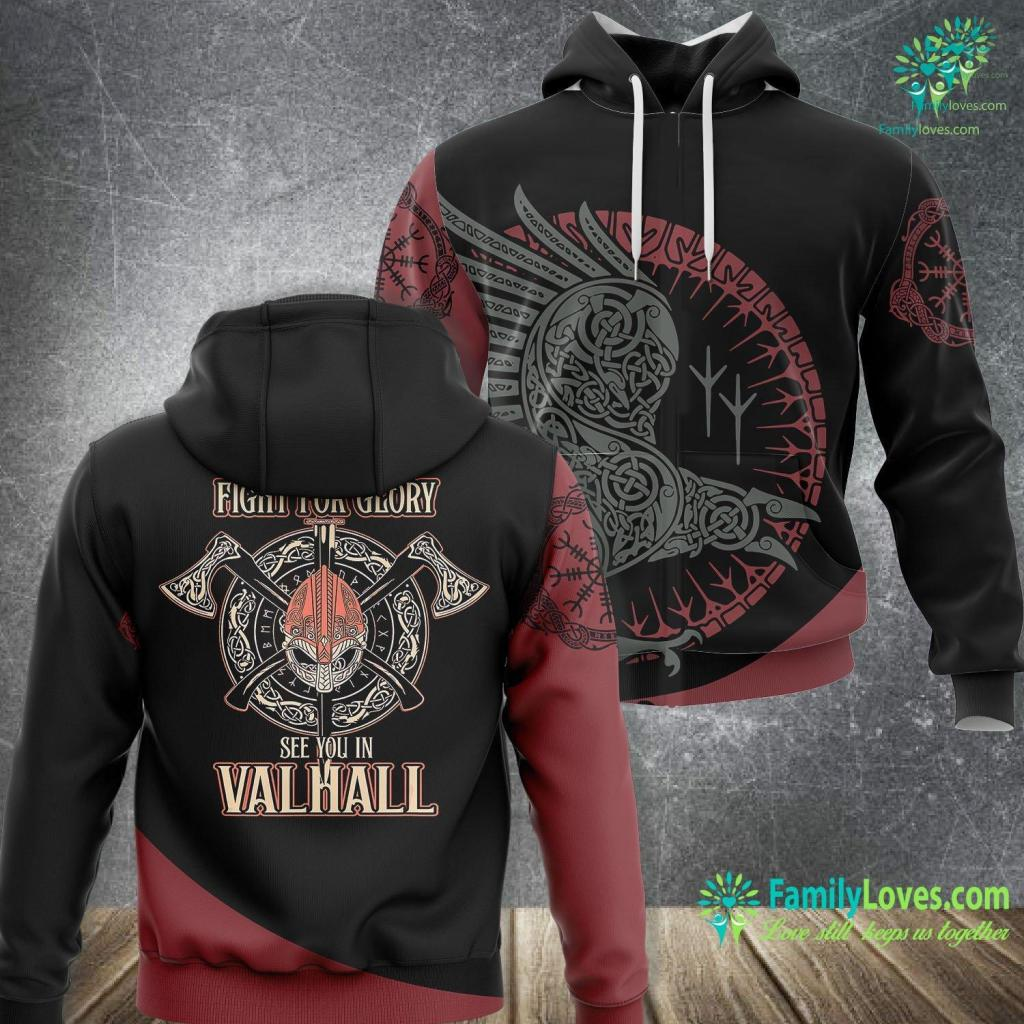 Thor Norse Mythology Viking Fight For Glory See You In Valhall Shield Viking Unisex Hoodie All Over Print Familyloves.com