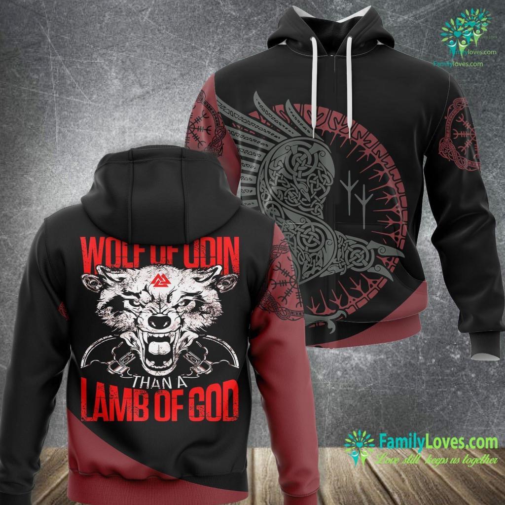 Tree Of Life Wall Art Wolf Of Odin Lamb Of God Vikings Viking Unisex Hoodie All Over Print Familyloves.com