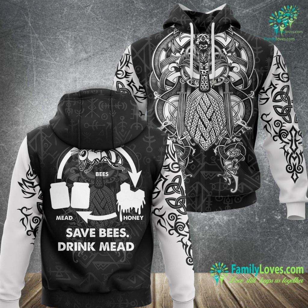 Viking 30 Gas Range Save Bees Drink Mead Viking Scandinavian Honey Wine Gift Viking Unisex Hoodie All Over Print Familyloves.com