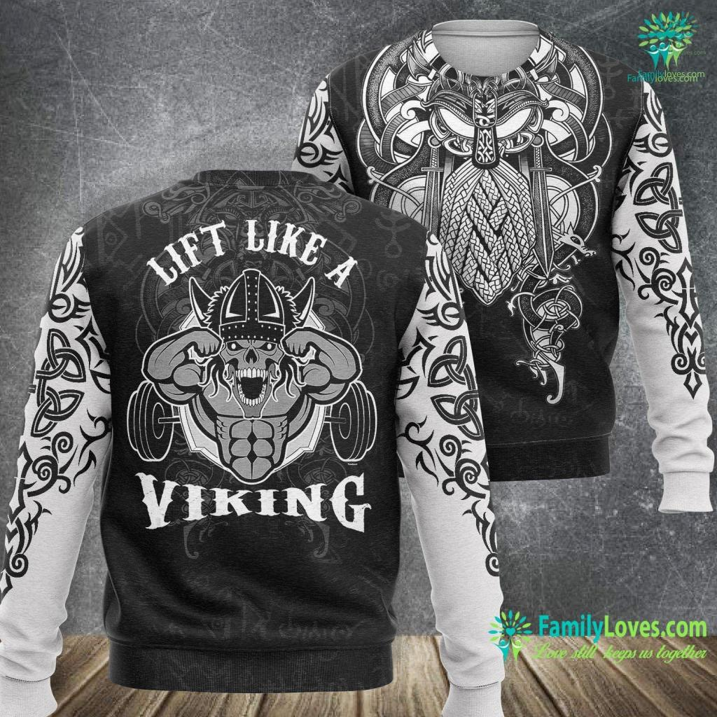Viking Pools Sport Lift Like A Viking Workout Gym Weightlifter Gift Viking Sweatshirt All Over Print Familyloves.com
