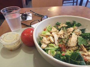 fuji chicken apple salad with dressing on the side, apple, and a glass of water.