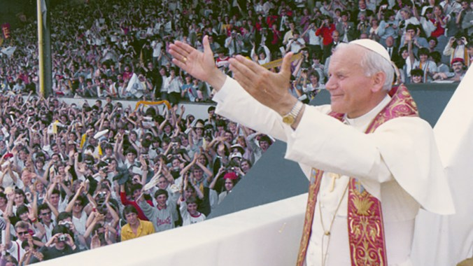 Pope John Paul II speaks to young people at Ninian Park, Cardiff