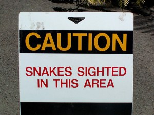 Caution snakes sign