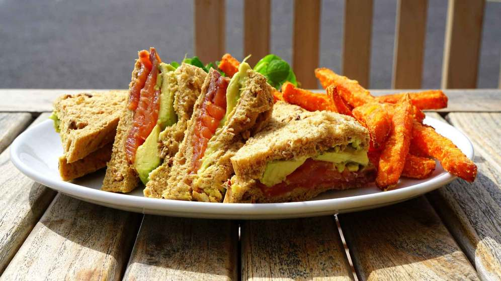 healthy sandwich with a side of fries