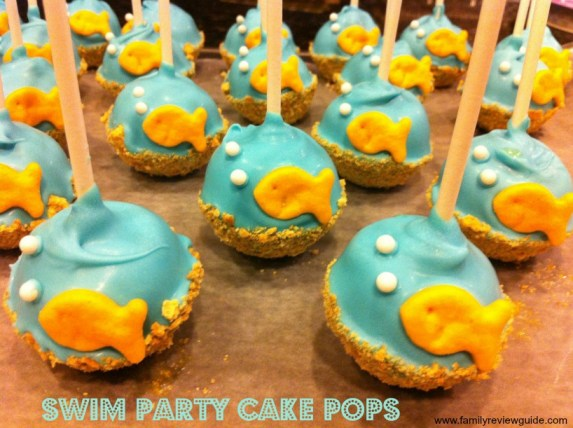 swim party cake pops