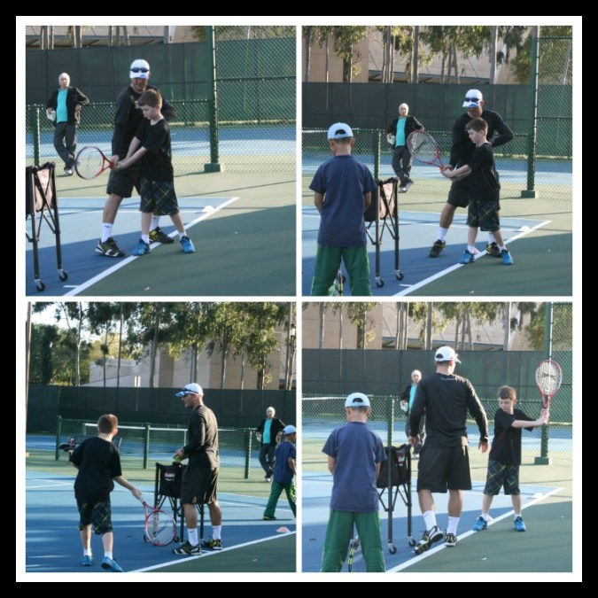 tennis instruction collage