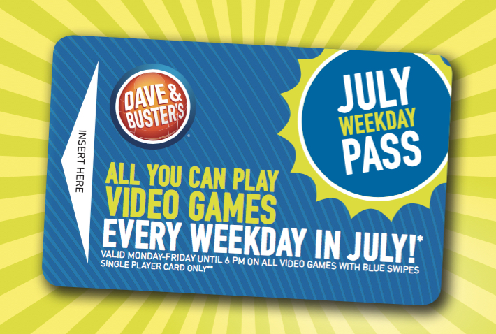 Dave & Buster's - July Weekday Pass Card-2